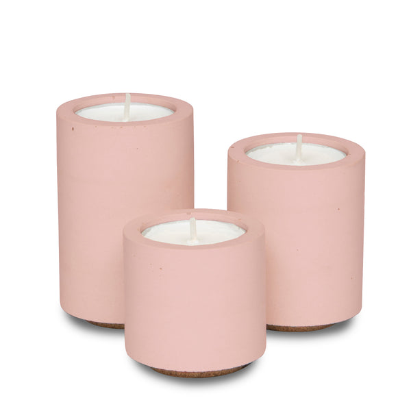 Concrete & Wax Tea-light Trio - All Blush