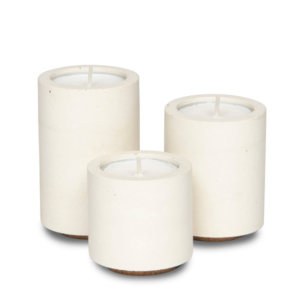 Concrete & Wax Tea-light Trio - All White - Born Store