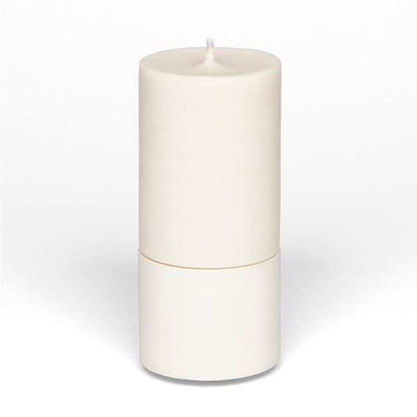 Concrete & Wax Mid Holder + Candle - White
