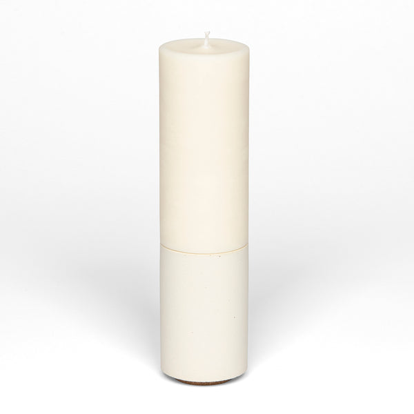 Concrete & Wax Slim Holder + Candle - White