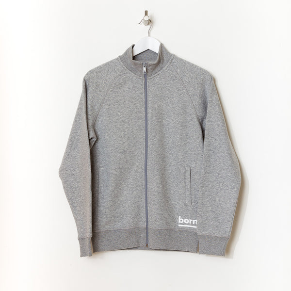 Born Essentials Organic Cotton Zip Sweat Mock -  Heather Grey - Born Store