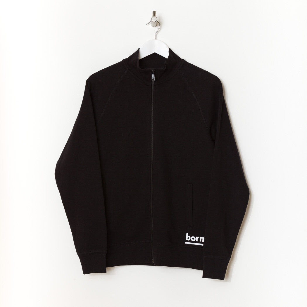 Born Essentials Organic Cotton Zip Sweat Mock -  Black