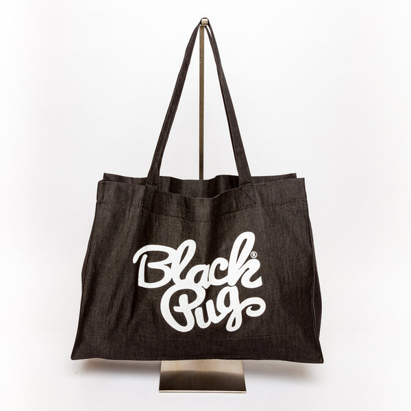 Black Pug Denim Shopping Tote Bag - Born Store