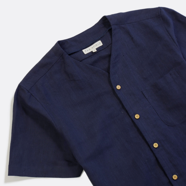 Far Afield Harvey Linen S/S Shirt - Ensign Blue