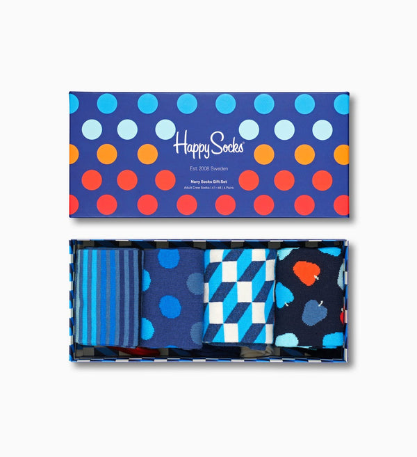 Happy Socks - Navy Gift Box (4 Pack) - Born Store