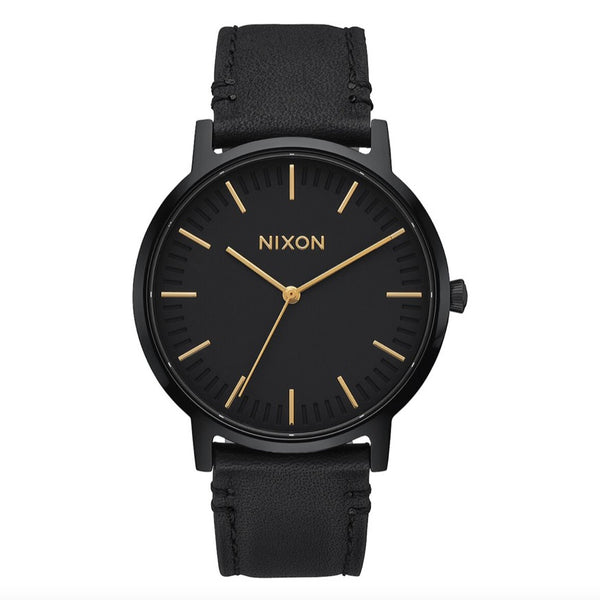 Nixon Porter Leather - All Black / Gold - Born Store