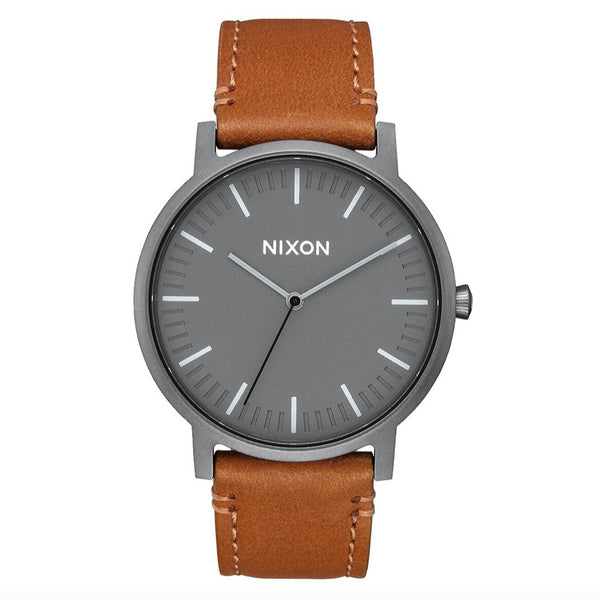 Nixon Porter Leather - Gunmetal / Charcoal / Taupe - Born Store