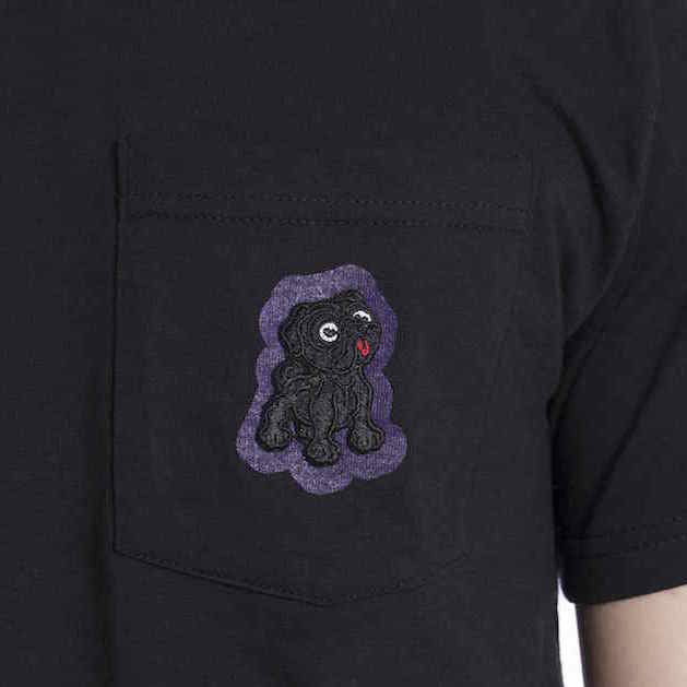 Black Pug Pocket Tee - Black - Born Store