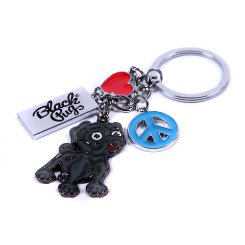 Black Pug 'Peace Love & Black Pug' Key Chain