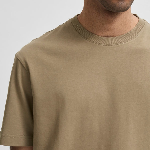 Selected Homme Box Fit Gilman tee Shirt - Khaki