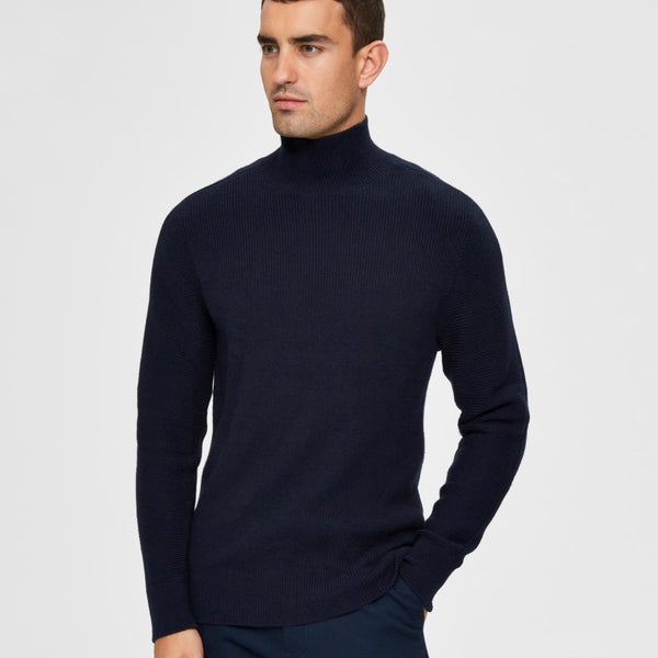 Selected Homme High Neck Knit - Sky Captain
