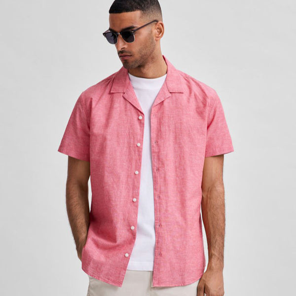 Selected Homme Linen Resort Shirt - Bittersweet