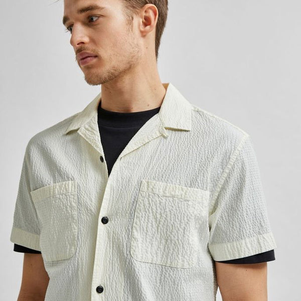 Selected Homme Seersucker Resort Shirt - Off White