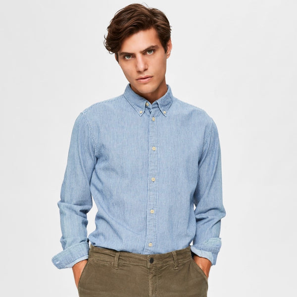 Selected Homme Micro Stripe Shirt (Slim Fit) - Light Blue - Born Store
