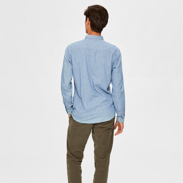Selected Homme Micro Stripe Shirt (Slim Fit) - Light Blue