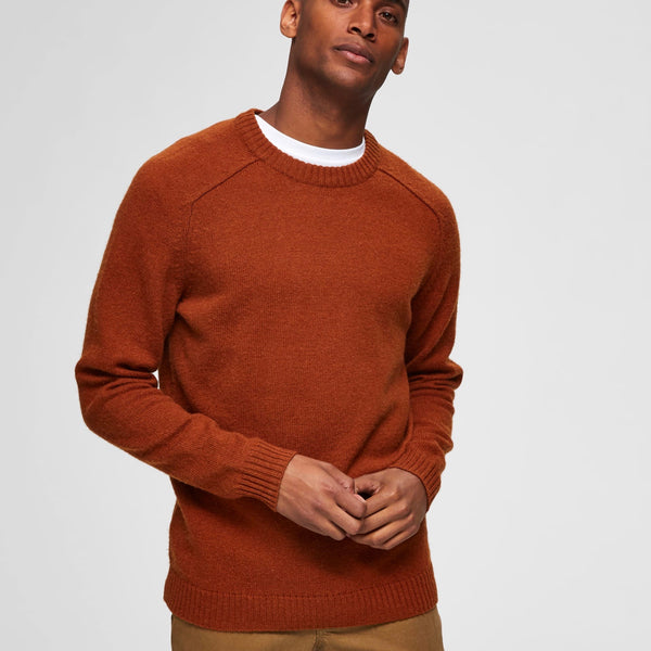 Selected Homme Wool Crewneck Knit - Beige / Caramel Café
