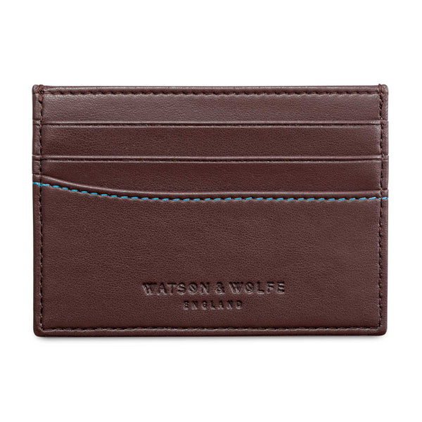 Watson & Wolfe Vegan Slim Card Case - Brown - Born Store