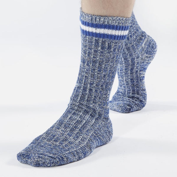 Universal Works Everyday Striped Socks - Navy