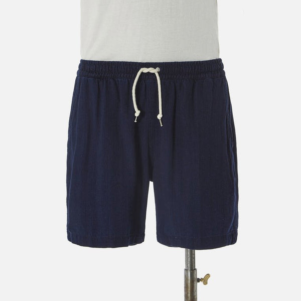 Universal Works Herringbone Denim Beach Short - Indigo