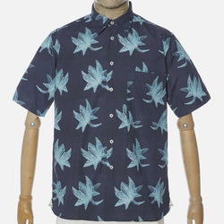 Universal Works S/S Big Pocket Shirt - Indigo Lotus Print