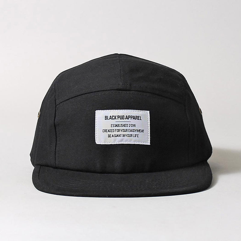 Black Pug Military 5 Panel Cap - Black - Born Store