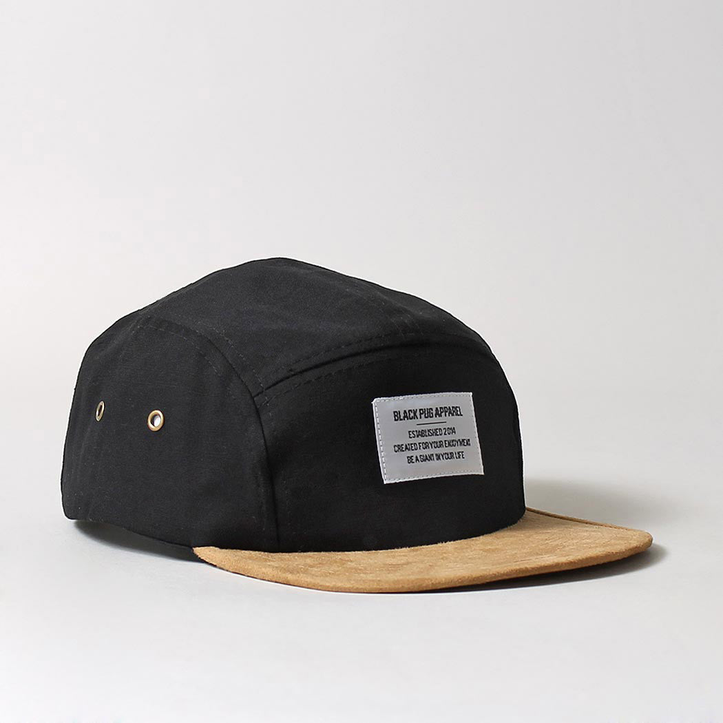 Black Pug Military 5 Panel Suede Peak Cap - Black