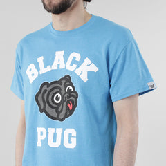 Black Pug Old Head Logo - Heather Blue