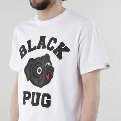 Black Pug Old Head Logo - White