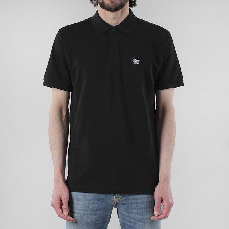 Black Pug Heart Patch Polo - Black/Black - Born Store