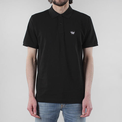Black Pug Heart Patch Polo - Black/Black