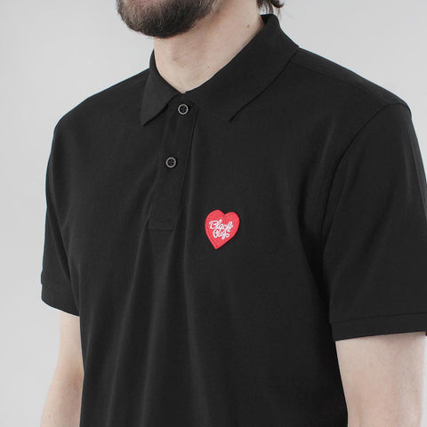 Black Pug Heart Patch Polo - Black/Red