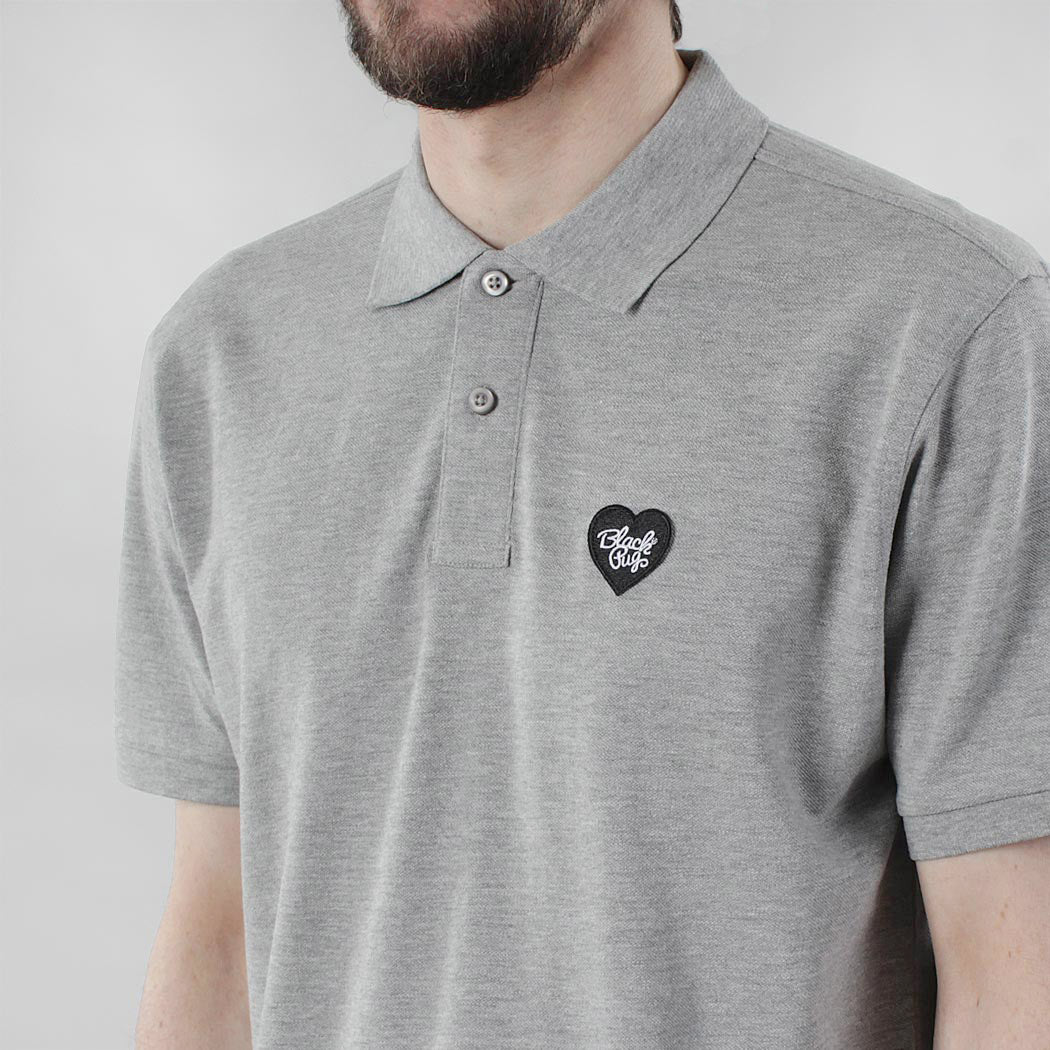 Black Pug Heart Patch Polo - Heather Grey/Black