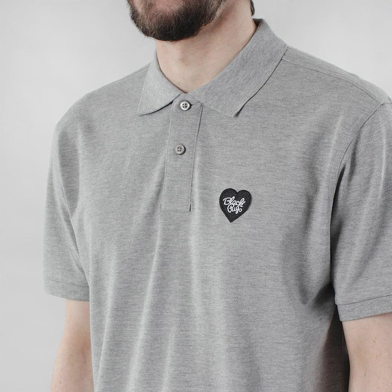 Black Pug Heart Patch Polo - Heather Grey/Black - Born Store