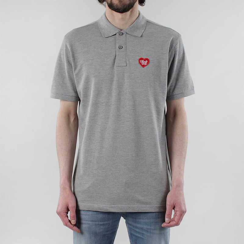 Black Pug Heart Patch Polo - Heather Grey/Red - Born Store