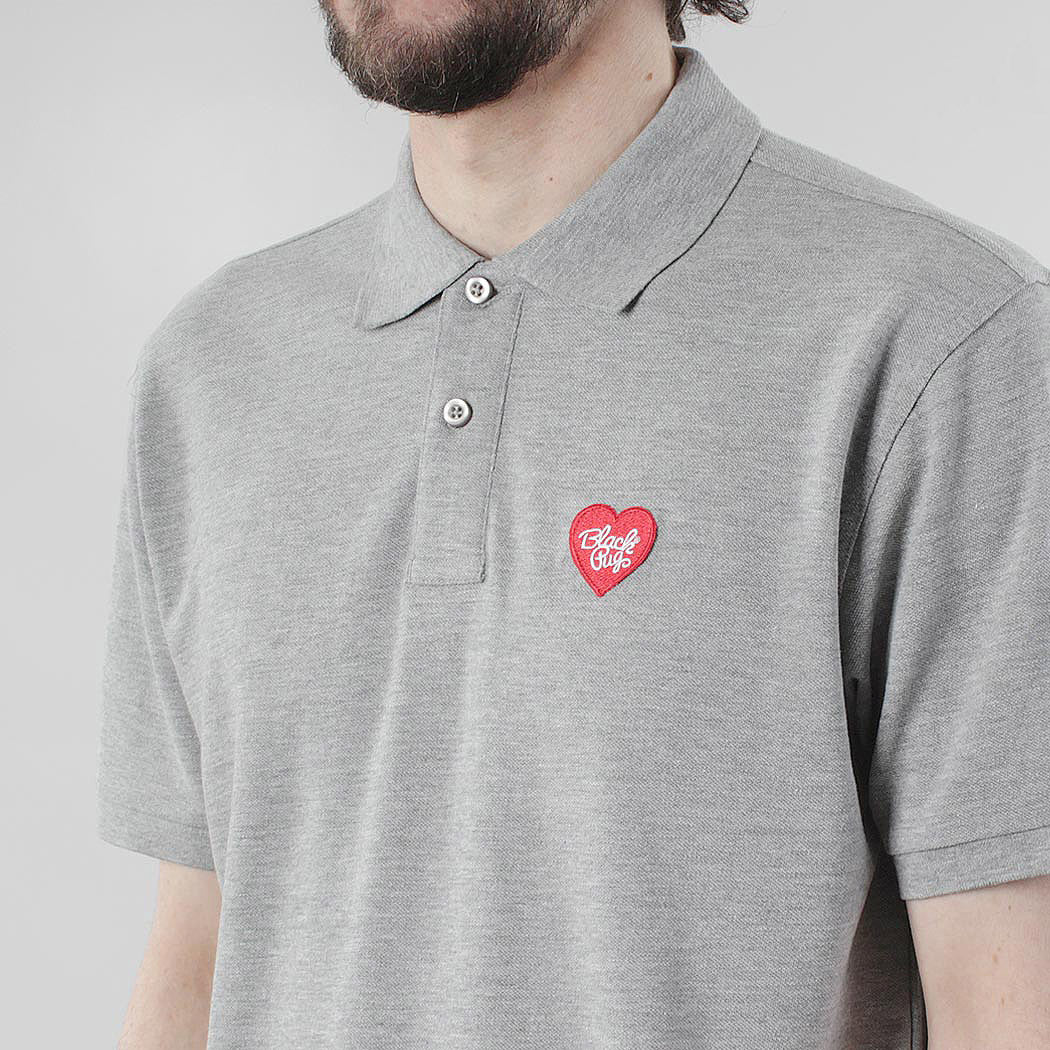 Black Pug Heart Patch Polo - Heather Grey/Red