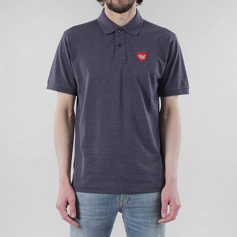 Black Pug Heart Patch Polo - Blue Heather/Red - Born Store