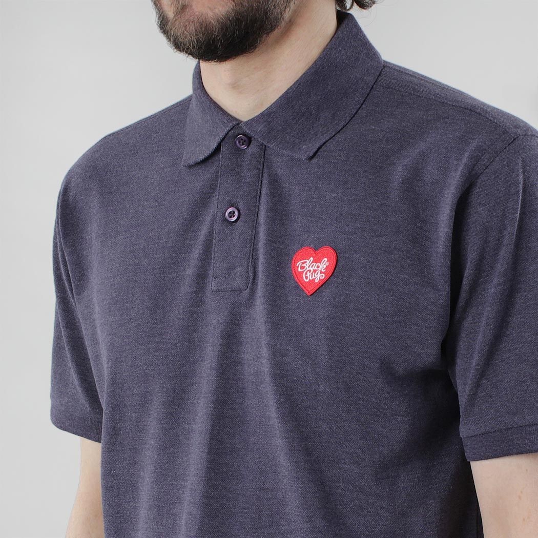 Black Pug Heart Patch Polo - Blue Heather/Red