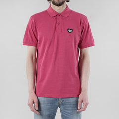 Black Pug Heart Patch Polo - Heather Red/Black