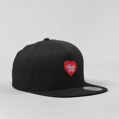 Black Pug Heart Snapback Cap – Black/Red