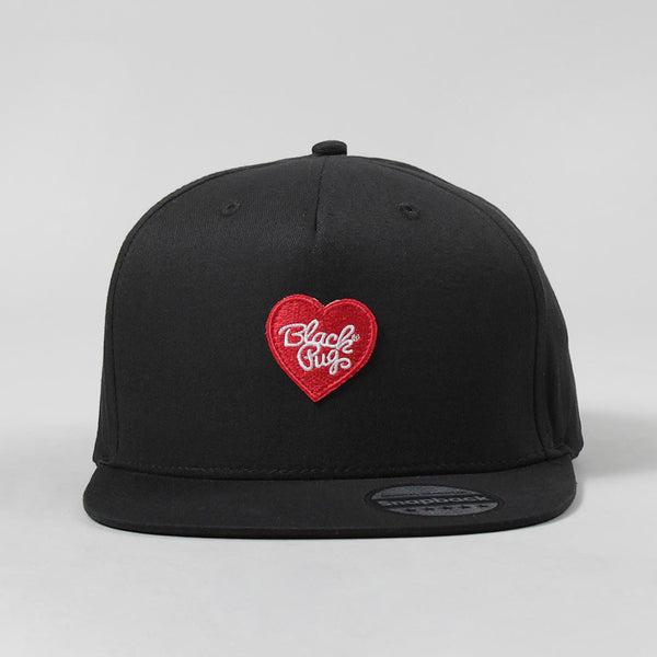 Black Pug Heart Snapback Cap – Black/Red - Born Store