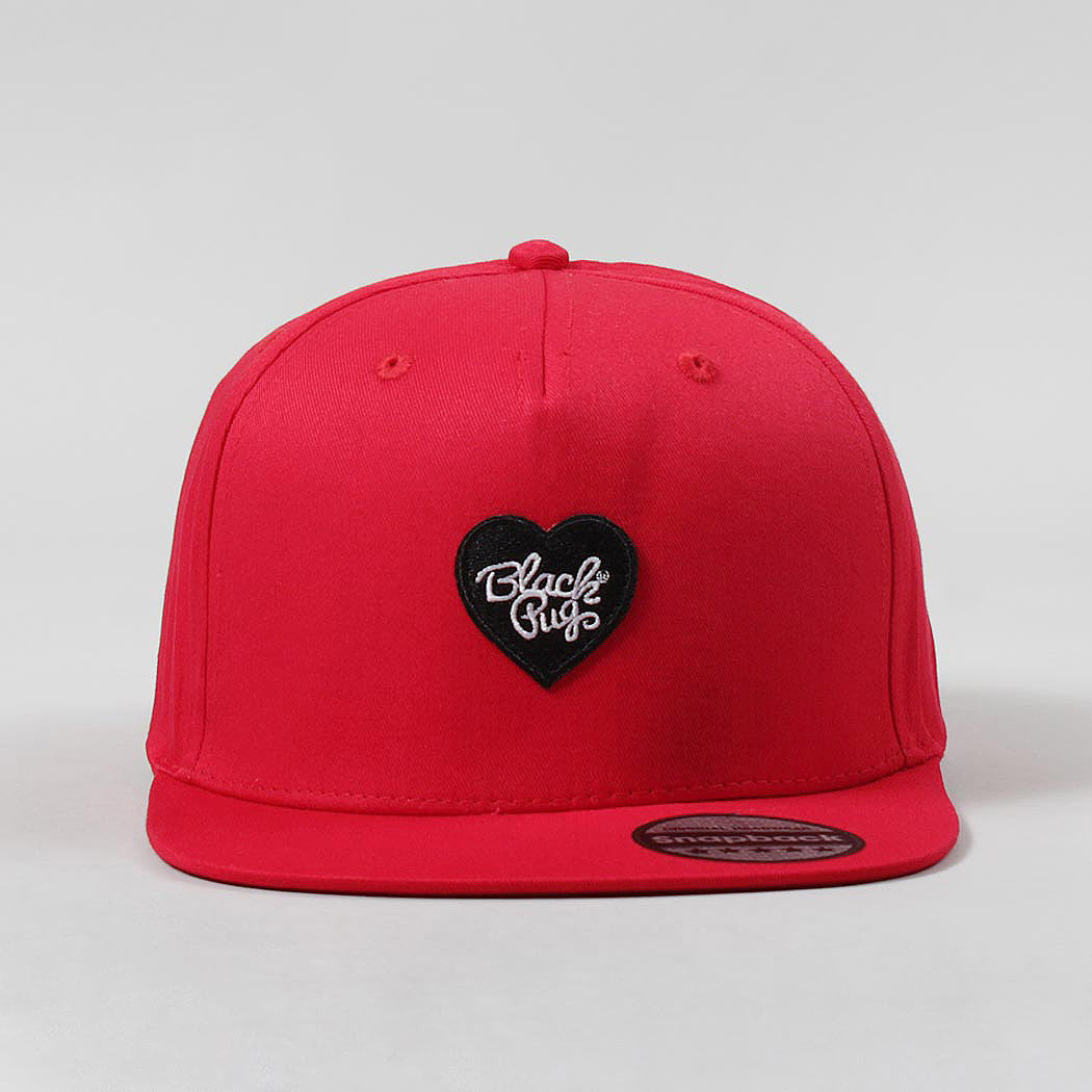 Black Pug Heart Snapback Cap – Red/Black