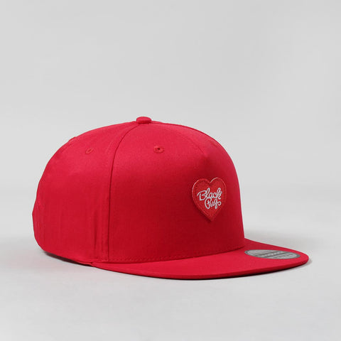 Black Pug Heart Snapback Cap – Red/Red