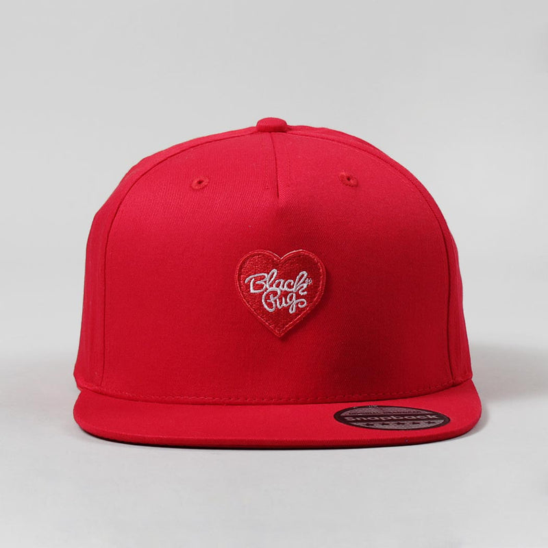 Black Pug Heart Snapback Cap – Red/Red - Born Store