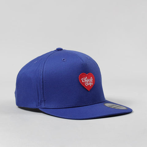 Black Pug Heart Snapback Cap – Blue/Red
