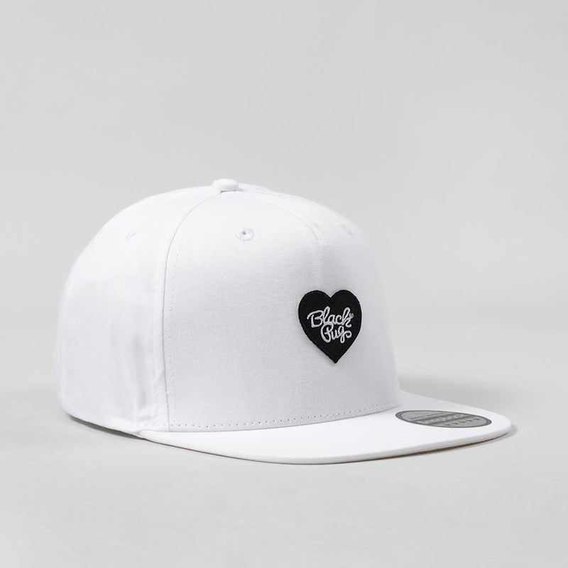 Black Pug Heart Snapback Cap – White/Black - Born Store
