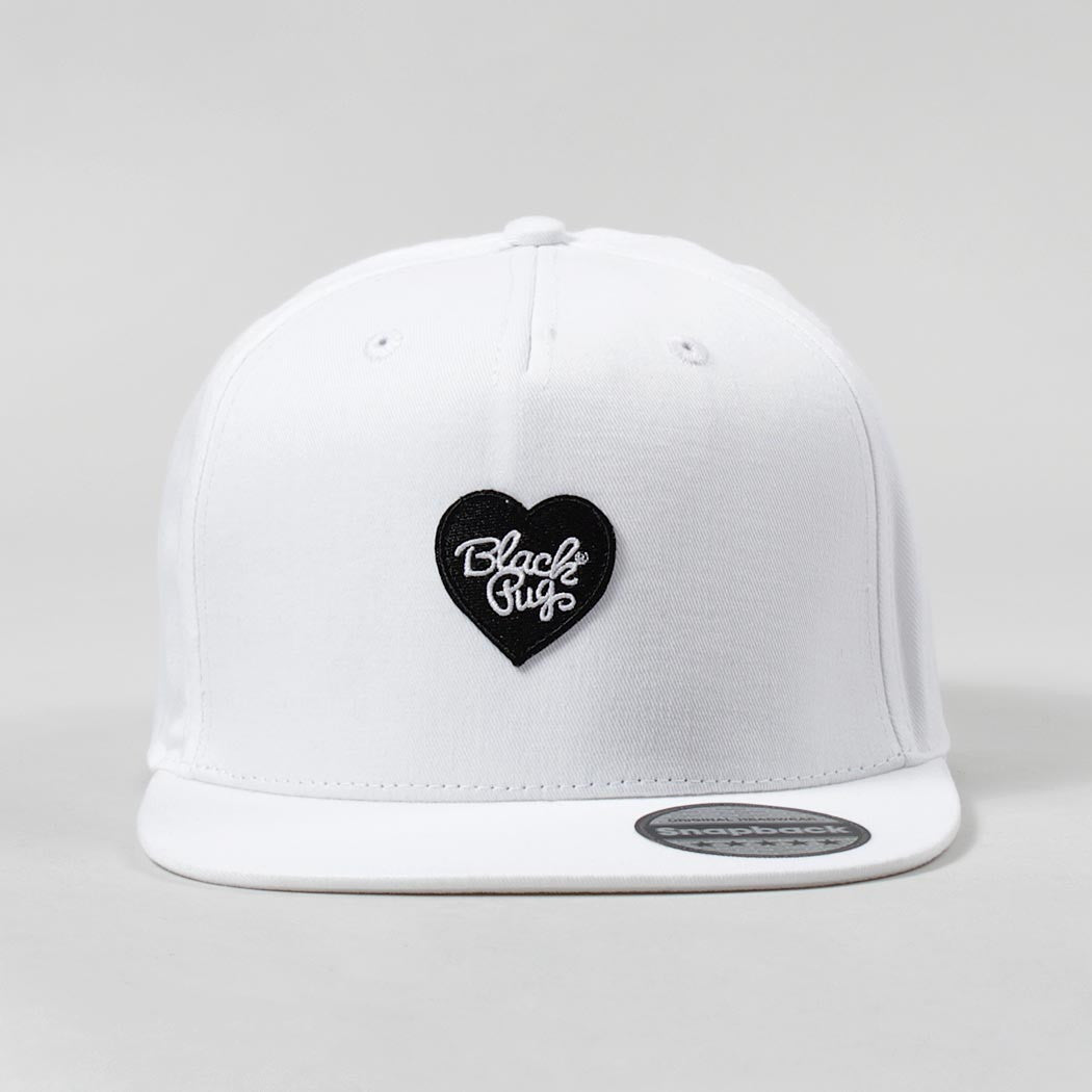 Black Pug Heart Snapback Cap – White/Black