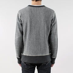 Black Pug Contrast Crew - Grey Heather