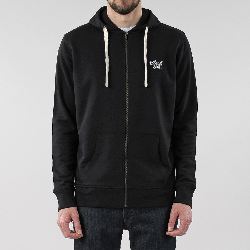 Black Pug Basic Zip Hoodie - Black