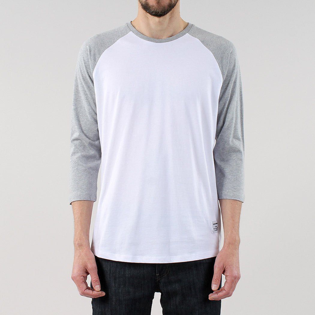 Black Pug Basic baseball raglan Tee - Grey Heather