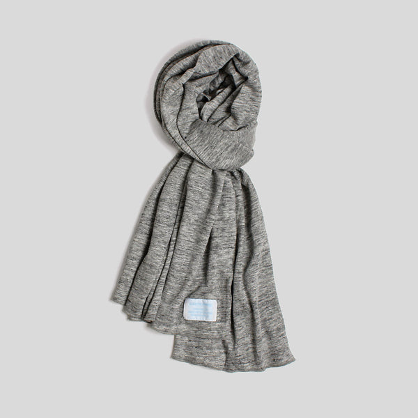 Black Pug Linen Scarf - Grey Heather - Born Store